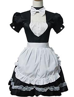 One-Piece/Dress Sweet Lolita Lolita Cosplay Lolita Dress Patchwork Short Sleeve Short Length Dress Cravat Apron For Cotton