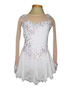 Skating wear / skating dress,Women's/Girl's Dumb Light Spandex Elasticated Net Lace Flowers Figure Skating Clothing White