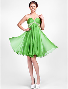 Homecoming Cocktail Party/Homecoming Dress - Clover Plus Sizes A-line/Princess Halter/Sweetheart Knee-length Chiffon