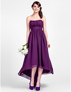 Lanting Bride® Asymmetrical Chiffon Bridesmaid Dress - A-line / Princess Strapless / Spaghetti Straps Plus Size / Petite withDraping /