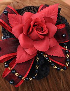 Jóias Gótica Decoração de Cabelo Lolita Vermelho / Preto Lolita Acessórios Peça para Cabeça Floral Para Masculino / Feminino Algodão