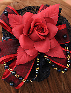 Lolita Jewelry Gothic Lolita Headwear Lolita Red / Black Lolita Accessories Headpiece Floral For Men / Women Cotton