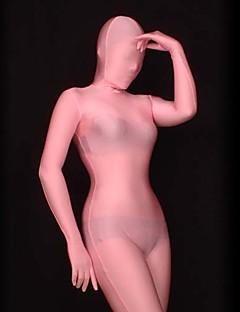 Vaaleanpunainen Puoliläpinäkyvä Spandex Lycra Full Body Zentai