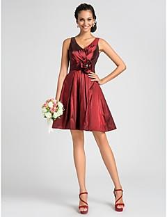 Lanting Knee-length Taffeta Bridesmaid Dress - Burgundy Plus Sizes / Petite A-line / Princess V-neck