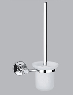 Contemporary Style Chrome Finish Brass Wall Mounted Toilet Brush Holder