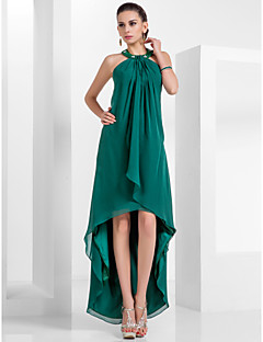 Homecoming Formal Evening Dress - Dark Green Plus Sizes A-line/Princess Halter Asymmetrical/Knee-length Chiffon