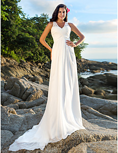 LAN TING BRIDE A-line Wedding Dress - Chic & Modern Open Back Court Train V-neck Chiffon with Sequin Beading Criss-Cross