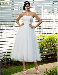 Lanting A-line/Princess Plus Sizes Wedding Dress - Ivory Tea-length Strapless Tulle