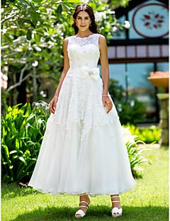 LAN TING BRIDE A-linje Prinsesse Bryllupskjole - Chic og moderne Elegant og luksuriøs Mottakelseskjoler Små Hvite Kjoler Ankellang