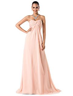 저녁 정장파티/프롬/밀리터리 볼 드레스 - 펄 핑크 시스/컬럼 스위프/브러쉬 트레인 스위트하트/스파게티 스트랩 쉬폰 플러스 사이즈