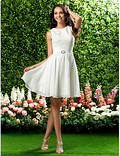 Homecoming Bridesmaid Dress Knee Length Chiffon and Lace A Line Jewel Dress