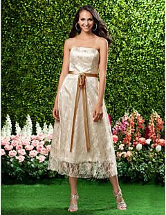 Lanting Bride Tea-length Lace Bridesmaid Dress A-line / Princess Strapless Plus Size / Petite with Bow(s) / Lace / Sash / Ribbon