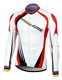 SANTIC® חולצת ג'רסי לרכיבה לגברים שרוול ארוך אופניים נושם / שמור על חום הגוף / ייבוש מהיר / חדירות ללחות / רוכסן קדמי / לביש / תומך זיעה