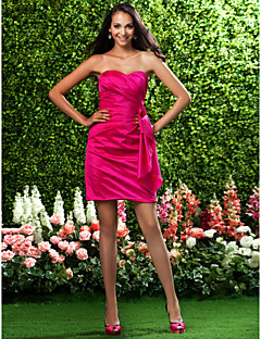 Lanting Bride® Short / Mini Taffeta Bridesmaid Dress Sheath / Column Strapless / Sweetheart Plus Size / Petite withFlower(s) / Side