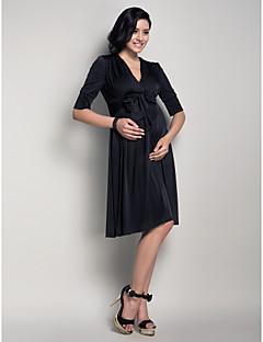 Lanting Bride® Até os Joelhos Microfibra Jersey Vestido de Madrinha - Linha A Decote V Maternidade com Pregueado / Faixa / Fita