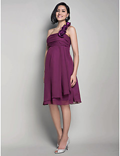 Lanting Bride® Knee-length Chiffon Bridesmaid Dress - A-line / Princess One Shoulder Maternity with Flower(s) / Ruching