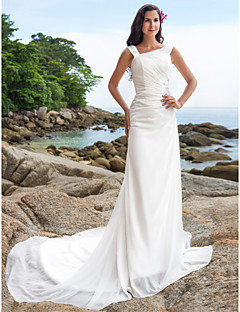 Lanting Bride Sheath/Column Petite / Plus Sizes Wedding Dress-Chapel Train Straps Chiffon