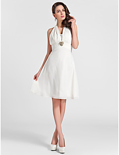 Lanting Knee-length Chiffon Bridesmaid Dress - Ivory Plus Sizes / Petite A-line / Princess Halter