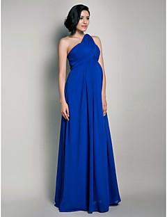 Formal Evening/Wedding Party Dress - Royal Blue Maternity Sheath/Column One Shoulder Floor-length/Watteau Train Chiffon