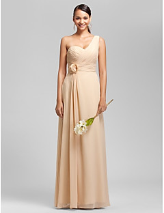 Lanting Bride® Floor-length Chiffon Bridesmaid Dress Sheath / Column One Shoulder / Sweetheart Plus Size / Petite withDraping / Flower(s)