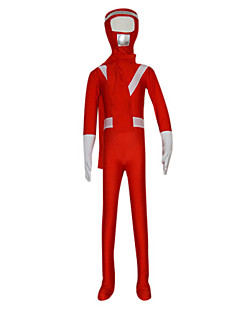 Red Rangers Full Body Spandex Kid's Zentai with Scarf (6-8 YRS)