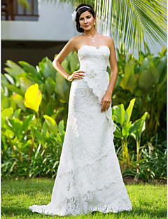 Sheath/Column Plus Sizes Wedding Dress - Ivory Court Train Sweetheart Lace