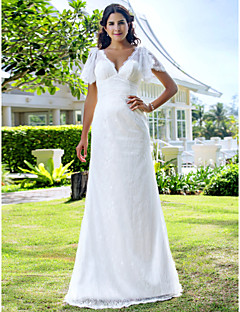Lan Ting Sheath/Column Plus Sizes Wedding Dress - Ivory Sweep/Brush Train V-neck Lace