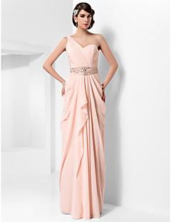 저녁 정장파티/프롬/밀리터리 볼 드레스 - 펄 핑크 시스/컬럼 바닥 길이 원 숄더 쉬폰 플러스 사이즈
