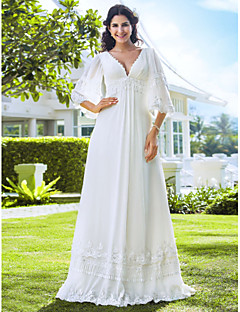 Sheath/Column Petite / Plus Sizes Wedding Dress - Ivory Floor-length V-neck Chiffon