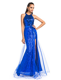 Formal Evening / Prom / Military Ball Dress - Royal Blue Plus Sizes / Petite Sheath/Column Jewel Floor-length Sequined / Tulle