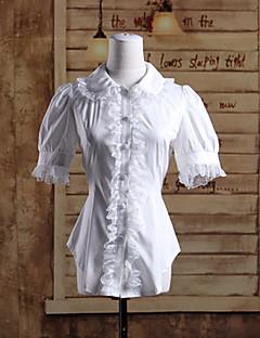 Блузы/сорочки Сладкое детство Лолита Косплей Платья Лолиты Однотонный Короткий рукав Лолита Блузка Для Хлопок