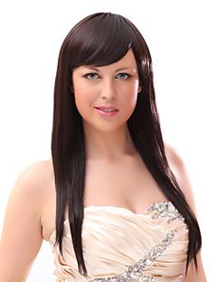 Sin tapa 20% del pelo humano recto largo Brown pelucas de pelo