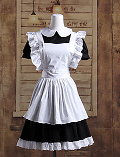 Kortermet Short Black and White Cotton Maid Cosplay Lolita Dress