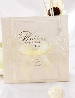 Design Invitation de mariage plié Rose avec ruban bowknot (jeu de 50)
