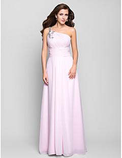 프롬/밀리터리 볼/저녁 정장파티 드레스 - 블러슁 핑크 A라인 바닥 길이 원 숄더 쉬폰 플러스 사이즈