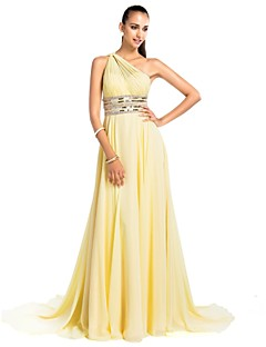 Formal Evening/Prom/Military Ball Dress - Daffodil Plus Sizes Sheath/Column One Shoulder Court Train Chiffon