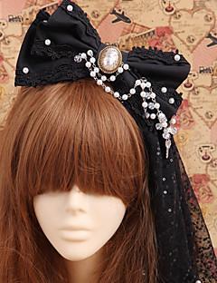 Jóias Gótica Decoração de Cabelo Princesa / Vitoriano Preto Lolita Acessórios Peça para Cabeça Laço Para Masculino / FemininoAlgodão /