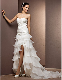 Sheath/Column Plus Sizes Wedding Dress - Ivory Court Train Sweetheart Taffeta/Organza