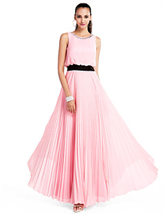 Formal Evening/Prom/Military Ball/Wedding Party Dress - Candy Pink Plus Sizes A-line/Princess Jewel Floor-length Chiffon