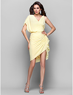 TS Couture Cocktail Party Homecoming Company Party Family Gathering Dress - Short Sheath / Column V-neck Short / Mini Asymmetrical Chiffon