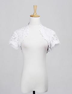 結婚式のラップ シュラッグ 半袖 レース ホワイト 結婚式 / パーティー / カジュアル キャップ フロントオープン
