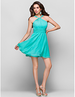 Homecoming Cocktail Party/Homecoming/Wedding Party Dress - Jade Plus Sizes Sheath/Column Straps Short/Mini Chiffon