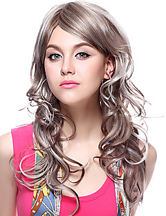 Capless 100% Human Hair Long Wavy Grey Hair Wigs