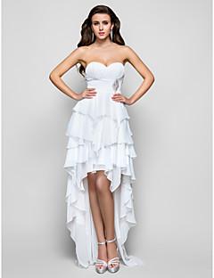 Vestido - Marfim Festa Formal/Baile de Formatura Linha-A/Princesa Sem Alça/Curação Assimétrico Chiffon Tamanhos Grandes