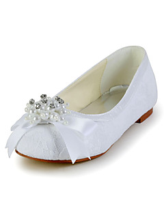 Pretty Lace Flat Heel Closed-toes Flats with Bowknot and Imitation Pearl Flower Girls Shoes(More Colors)