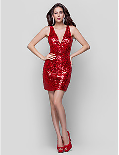 TS Couture® Cocktail Party / Holiday Dress Plus Size / Petite Sheath / Column V-neck Short / Mini Sequined with