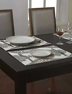 Ensemble De 4 Sets de Table Floral Gris traditionnels
