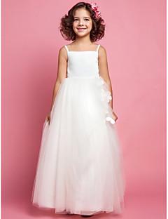 une ligne princesse bretelles spaghetti tulle et satin robe fille fleur (551536)