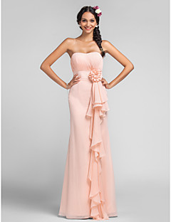 Dress Sheath / Column Sweetheart Floor-length Chiffon with Draping / Flower(s) / Cascading Ruffles
