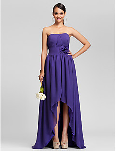 Asymmetrical/Sweep/Brush Train Chiffon Bridesmaid Dress - Regency Plus Sizes A-line/Princess Strapless